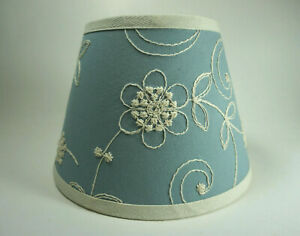 Waverly Candlewicking Candlewick Classic Light Blue Fabric Lampshade Lamp Shade