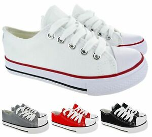 KIDS GIRLS BOYS LACE UP SPORT RUNNING CHILDREN CANVAS COMFY CASUAL TRAINERS SIZE