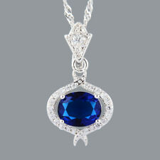 Stunning 18K White Gold Plated CZ Blue Sapphire Oval Cut Pendant Necklace Chain