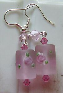 PINK FROSTED ROSE LAMPWORK GLASS EARRINGS