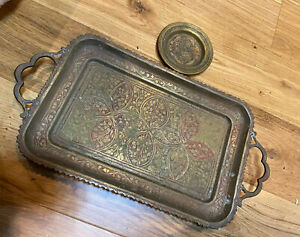 Vintage Brass Serving Tray And Small Dish