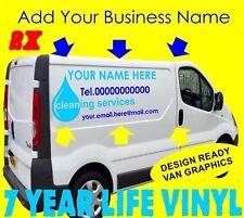 2 x Véhicule Commercial Vinyl Graphics Van Autocollant Signe Making Fenêtre Nettoyage