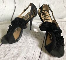 Womens Size 10 Wild Rose High Heel Stileotto Black Ruffle Shoes