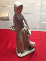NAO Figurine: A NAO By Lladro Figurine Of A Girl With A Duck & Basket. Lot/6