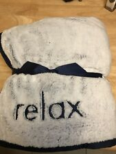 Bath and Body Works RELAX BLANKET Blue Gray Plush Faux Fur Throw NEW Tags 2018