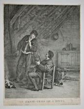 Tabac VAN OSTADE Passe Tems Hiver GRAVURE Francois Basan Fouquet XVIII°