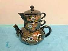 Stacking Kutani Tea Pot with Creamer and Cup