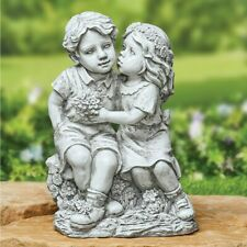 Patio Garden Decorative Figurine.Sweet Moments Kiss.Antiqued Stone Like Fished