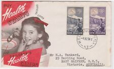 (K110-28) 1954 NZ FDC 3 1/2d Hiker health cover used (AC)