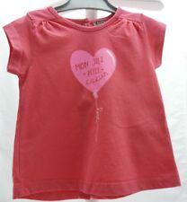 DP...am tee-shirt rose fuschia motif ballon en coeur manche courte fille 9 mois
