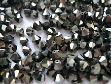 72 Swarovski crystal bicone beads 6mm Jet Nut 2x #5301