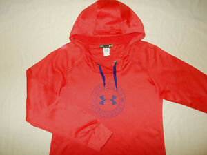 UNDER ARMOUR ORANGE SEMI-FITTED HOODED SWEATSHIRT WOMENS LARGE NICE CONDITION