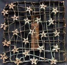 "COPPER TJAP CAP CHOP STAMP TINY STAR FLOWER 8"" x 8"" INDONESIA BATIK ART BLOCK"