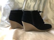 Women's leather Round Toe Lace Up Wedge Heels Zippered Ankle Boots Booties SEXY