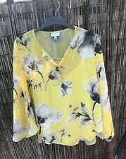 Witchery Printed Ruffle Blouse, Size 12, Yellow Floral Print
