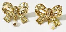 boucles d'oreilles percées cristaux diamant perle bijou vintage couleur or *3690