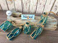 (5) Aqua Glass Bottles On Rope ~Nautical Fish Net Decor ~ Light Blue, Turquoise