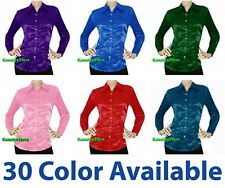 KanaiyaStore Women Satin Button Down Solid Collar Shirts Long Sleeve Blouse