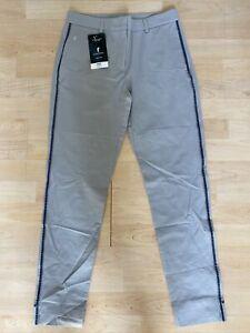 NWT Golfino Ladies Silver Light Trousers Tech Stretch Slim 3363326 806 Gray Sz 6