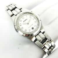 Fossil Blue AM-3982 100m Diamond Stainless Steel Women's Wrist Watch size 5.5""