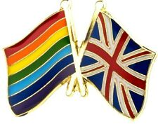 Rainbow UK Flag Badge Metal Pin Lapel Gay LGBT Friendship Respect Union Jack