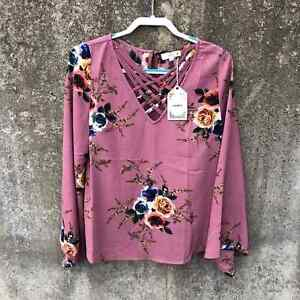 NWT Entro Mauve Floral Bell Sleeve Blouse