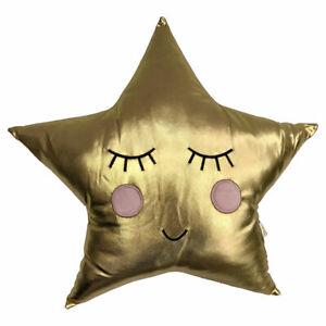 Little Furn Sleepy Shiny Star Shaped Filled Cushion, Gold, 40 x 41 Cm