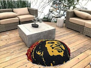 Bob Marley Art Floor Pillow Cover boho Ottoman Round Pouf cover hippie footstool