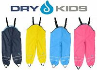 Dry Kids Childrens Waterproof Trousers Dungarees Fleece Lined Boys & Girls 2-12y