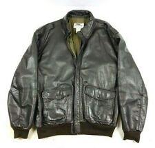 L.L. Bean Vintage men's dark brown leather bomber jacket L/T