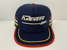Vintage Trucker Hat 3 Stripe Fasteners Inc Cap Snapback Blue Yellow Red Wh USA