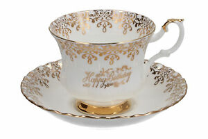 Royal Albert Happy Birthday cup & saucer White & Gold