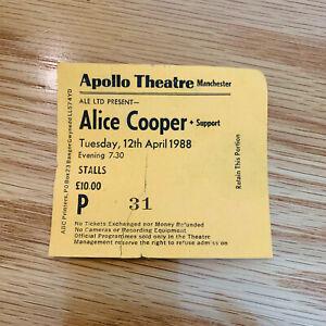 Alice Cooper 12 Apr 1988 Manchester Apollo Theatre concert Ticket Stub