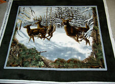 Real Tree PANEL Deer Buck Stag Forest Woods Antlers Snow 1517 FLEECE Fabric
