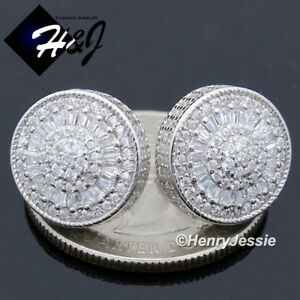 MEN 925 STERLING SILVER 13MM ICY DIAMOND BLING ROUND SCREW BACK STUD EARRING*E78
