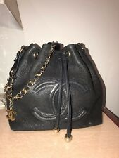 Authentic Chanel Bucket Shoulder Bag, Medium Size, Black-DOES NOT LOOK USED.