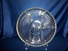 """Vintage. CLEAR CRYSTAL GLASS 10"""" Divided Serving Plate/Relish Dish 10"""" Round"""