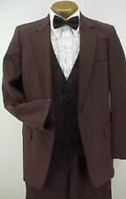 Vintage 4pc Dk Burgundy Polyester Prom Tuxedo 38R With Black Pants