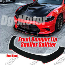 Universal Front Bumper Lip Spoiler Splitter Black with Red Line 3Pcs Body Kit