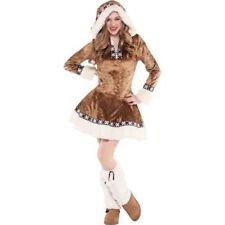 Teen Girls Junior Snow Bunny Costume Medium 7-9 Female Cute Dress Faux Fur