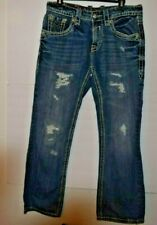 Rock Revival Mens Jeans Youth Jeans Duke Relaxed Straight Size 32 Distressed