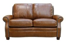 "New Luke Leather Furniture ""Ashton"" Tan Leather Loveseat Only with Studs"