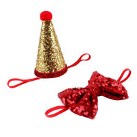 Dog Cat Birthday Hat Pet Bowknot Bowtie Party Costume Birthday Gift Red