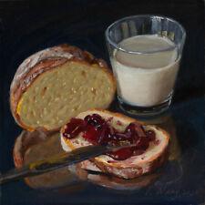 Original oil painting a day still life food bread jelly milk 8x8 Y Wang Fine Art