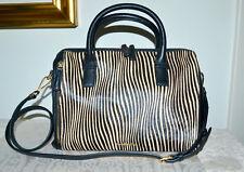 NWT $308 VERA BRADLEY MARLO Calf Hair Leather Satchel Handbag Uptown Stripes