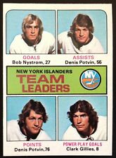 1975 Topps New York Islanders Team Leaders #323 NM  Clark Gillies Potvin 1975-76