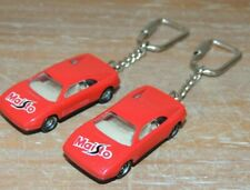 NEW VINTAGE SET OF 2 MAISTO DIECAST FERRARI 348 EXOTIC RED KEY CHAIN RING HTF