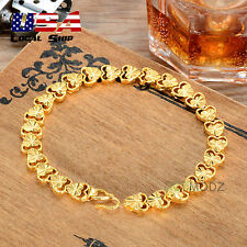 New Fashion Women 24K Gold Plated Hollow Hearts Curb Chain Cuff Bracelet Jewelry