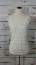 White House Black Market Ivory Sleeveless Tank Top Dressy Cami Blouse Sz Medium