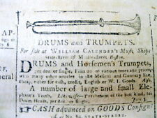 1799 Boston MASSACHUSETTS newspaper with an illustrated ad for TRUMPET & DRUM